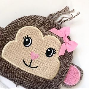 Other - Girly Winter Hat with Monkey Face for Baby